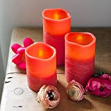 Lights4fun Conjunto de 3 Velas LED Rojas en Cera Natural con Acabado Desgastado