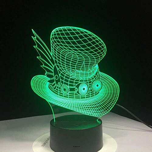Illusion LIEBE Weihnachten Kreative 3D Farbverlauf Magie Hut Schreibtisch Tischlampe Bunte Led Kappe Nachtlicht Usb Kinder Schlaf Schlafzimmer Nacht Dekor Leuchten