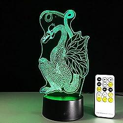 3D colorido noche luz LED interruptor táctil USB gradiente Illusion escritorio Lámpara atmósfera regalo dragón