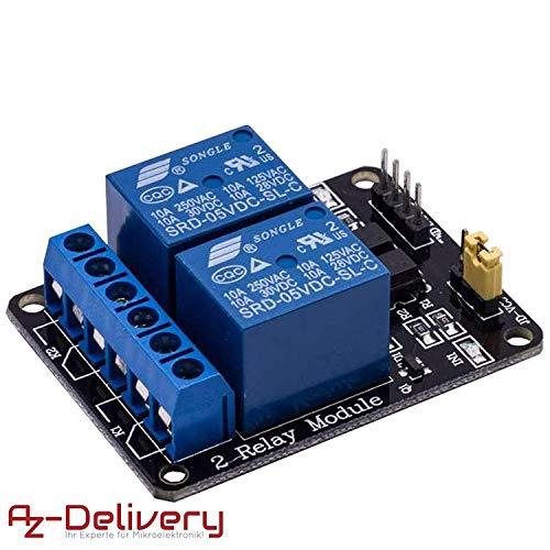 AZDelivery 2-Relais Modul 5V mit Optokoppler Low-Level-Trigger für Arduino inklusive eBook