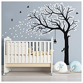 Huge Vinyl Wall Stickers by BDECOLL,White Blossoms & Birds Wall Art Decals,Family Falling Tree Wall Murals for Living Room/Office/Nursery(White)
