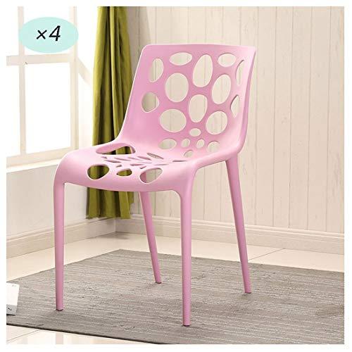 Dining Chair 4 Esszimmerstühle AXZXC Esszimmerstuhl Stapelstuhl Plastikgartenstühle Innen- oder Außenbereich Geeignet for Terrassenpartys Picknicks oder Camping Pink Rot (Color : Pink-4pcs)