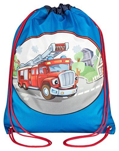 Aminata Kids - Kinder-Turnbeutel für Mädchen und Junge-n mit Feuerwehr-Mann Fire Truck Leiter Feuerwehrauto Sport-Tasche-n Gym-Bag Sport-Beutel-Tasche bunt blau ()