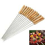 Allbusky barbecue brochettes Manche en bois brochettes 30cm en acier inoxydable Twisted Metal Kabab Bâtons pour barbecue et cuisson Lot de 12