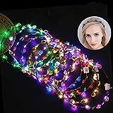 Fascigirl Ghirlanda Fiori LED,10 pezzi LED Fiori per Capelli fascia capelli donna Accessori per capelli Fermaglio per capelli festa di nozze Compleanno e vacanze Donna e ragazza