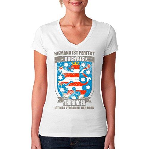 Fun Sprüche Girlie V-Neck Shirt - Perfekter Thüringer Wappen by Im-Shirt Weiß