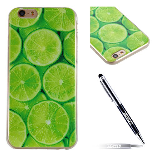 iPhone 6 Plus Custodia, iPhone 6S Plus Cover in Silicone Transparente, JAWSEU iPhone 6/6S Plus 5.5 Corpeture Case Creativo Disegno Super Sottile Cristallo Chiaro Custodia per iPhone 6/6S Plus Case Ant Lime