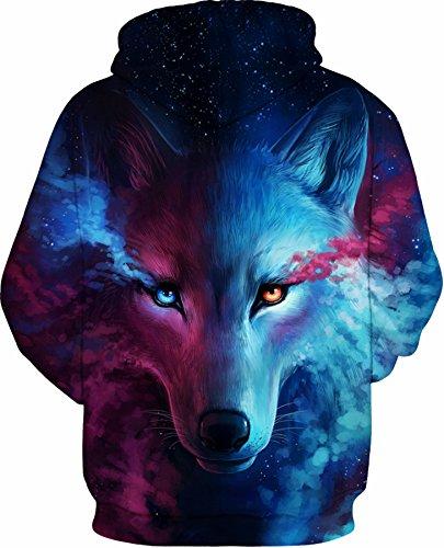 YuanYan Damen Herbst 3D Druck Motiv Pullover Kapuzenpullover Hoodie Kaputzen Pullover Sweatshirt Hooded Sweat mit Muster Himmel Wolf 1