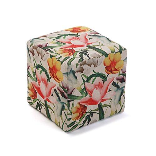 Versa 21350172 Taburete cubo puff asiento Flores,35x35x35, Multicolor,