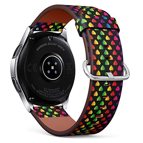 Art-Strap Kompatibel mit für Samsung Galaxy Watch (46MM) - Leder-Armband Uhrenarmband Ersatzarmbänder mit Schnellverschluss (Heller Regenbogen farbige Herzen an)