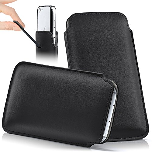 iPhone 7/8 Plus Hülle Grün Sleeve [OneFlow Slide Cover] Ultra-Slim Schutzhülle Dünn Handyhülle für iPhone 7/8 + Plus Case Full Body Handytasche Kunst-Leder Tasche DEEP-BLACK