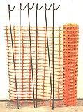 Warnzaun, Bauzaun, Absperrzaun Medium 140g/m², 1 x 25m, orange + 10 rostfreie Stahlstangen Ø8mm, 1.30m, zur Absicherung und Kennzeichnung von Baustellen, Gefahrenzonen, Loipen u.a.