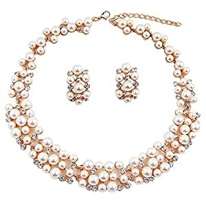 Shining Diva Fashion Jewellery Party Wear Pearl Necklace Set with Earrings for Women and Girls