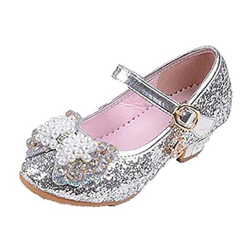 Brinny Prinzessin Schuhe mit Absatz Mädchen Kostüm Ballerina Schuhe - Schleife und Pailletten Karneval Festlich für Kinder 4 Farbe 12 Größe: 26-37 Silber