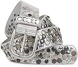 styleBREAKER Nietengürtel im Vintage Design mit echtem Leder, verschiedenen Nieten und Strass, kürzbar, Damen 03010051, Farbe:Antik-Silber;Größe:100cm