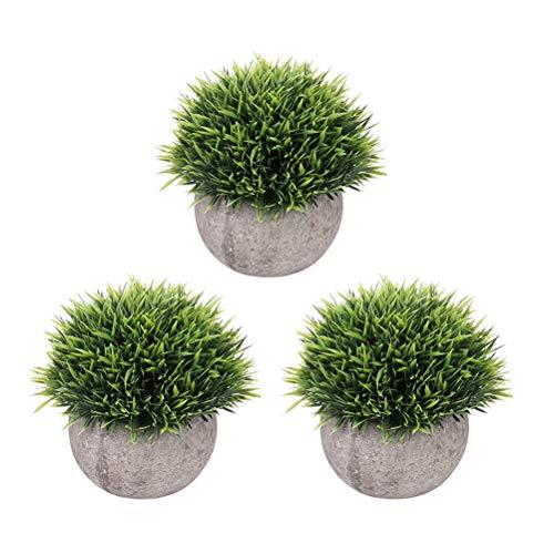 Vosarea 3 stück Künstliche Grün Gras Töpfe Topfpflanzen Kunstpflanze Bonsai für Wohnkultur Büro