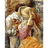 ERQINGSZH Peinture Numérique Amour du Baiser Peinture par Nombre Amant Dessin Cadeau Cadeau Peinture sur Toile Acrylique À Colorier Painitng par Numéros Accueil Décoration Murale