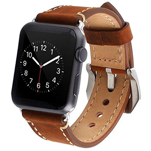 Apple-Watch-42mm-Correa-ZRO-Vendimia-Cuero-Genuina-Reemplazo-Correa-de-Reloj-con-Seguro-Cierre-de-Metal-Hebilla-para-Apple-iWatch-Serie-2-Serie-1-Marron