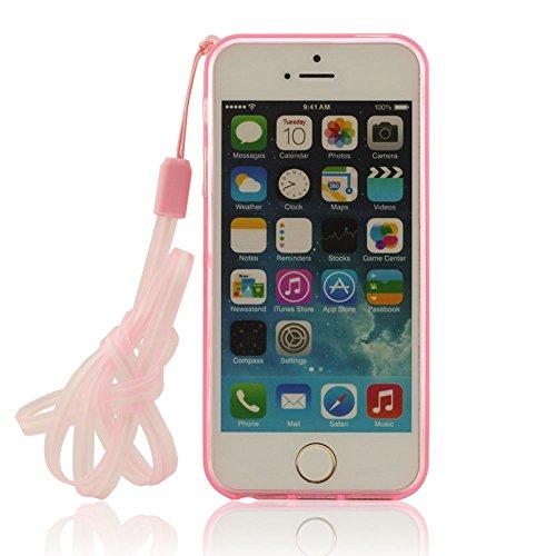 iPhone 5 5S Hülle Mit Strap, Niedlich Weiß Hase ( Ohren Bewegen Kann ) Flexibel Weiche TPU Material Skin Cover Case ( iPhone 5C Nicht Passen ) - Rot Rot