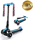 YOLEO New Generation Height Adjustable 3 Wheels Folding Kids Scooter - With Strong Aluminum Frame and Special Lovely Glowing Wheels
