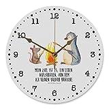 Mr. & Mrs. Panda Kinderzimmer, Uhr, 30 cm Wanduhr Pinguin Lagerfeuer mit Spruch - Farbe Weiß