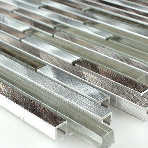 Aluminium Mosaik (Alu Aluminium Glas Mosaik Metall Braun Silber Mix Stäbchen)