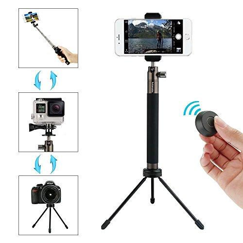 Palo Selfie Bluetooth Extensible, 360° Rotación Selfie Stick Cámara Trípode con Control Remoto para iOS & Android Teléfonos Inteligentes, SLR, Gopro, Negro