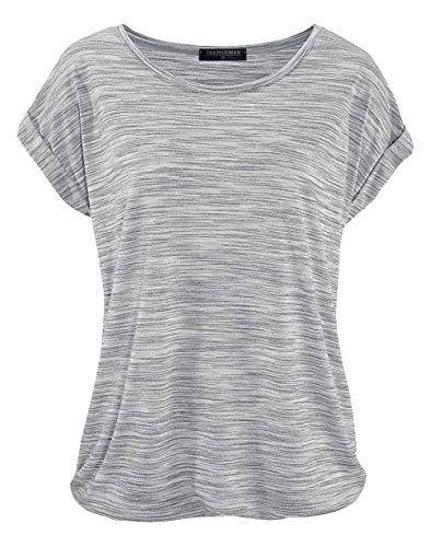 TrendiMax Damen T-Shirt Kurzarm Sommer Shirt Lose Strech Bluse Tops Causal Oberteil Basic Tee (Gray, M) -