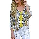 TianWlio Langarm Bluse Damen Frauen Mode Lässige Mode Damen V-Ausschnitt Druck Bandage Chiffon Lange Ärmel T-Shirt Bluse Tops