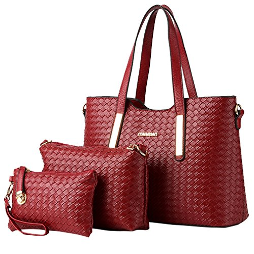 MissFox Fashion Da Donna Retro Handbag Shoulder Bag Tote Bag 3 Pezzi Vino Rosso