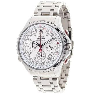 Detomaso Teramo Silver DT1029-C DT1029-C – Reloj cronógrafo de Cuarzo para Hombre, Correa de Acero Inoxidable Color Plateado (cronómetro)