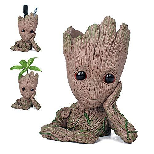 Pawaca Pot de Fleur Groot Dessin Animé Figure Pot de Fleurs en Pot de Jardin avec Trou Stylo Titulaire Cadeaux pour Enfa