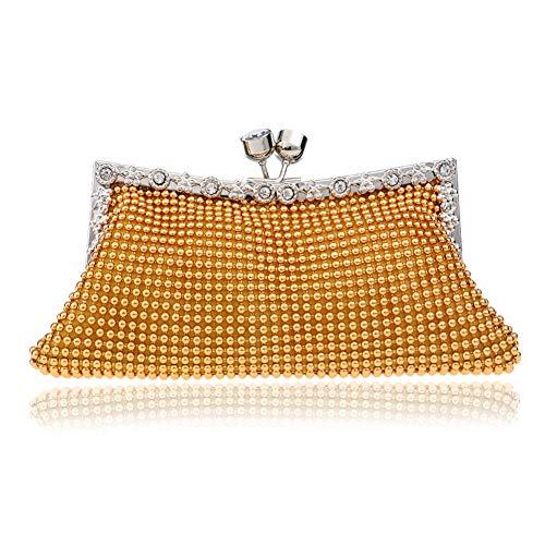Metme Luxus Crossbody Bag Dual-Use Perlen Handtasche Abend Clutch Mode Geldbörse Braut Prom für Frauen - Hand Perlen Abend Handtasche