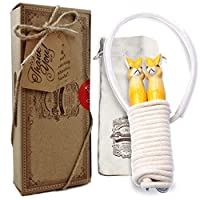 AGREATLIFE Premium Skipping Rope for Children: Extra Soft - Cotton Jump Rope for Girls with Rabbit Wooden Handles - Non-slip, Adjustable and Comfortable Grip - Perfect on Games for Kids