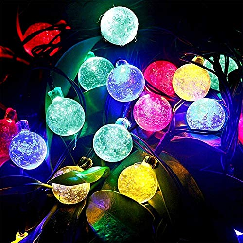 Bulary solar string lights 11m 60 led sfera di cristallo impermeabile outdoor string lights globe fata string lights per esterno giardino, cortile, casa, paesaggio, halloween christmas party