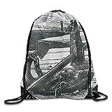 Awesome Anchor Skull Sea Print Drawstring Backpack Rucksack Shoulder Bags Gym Bag Sport Bag