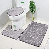 CyclingBoy Badezimmer-Teppichmatte, hochwertige superweiche Flanell-dreidimensionale Muster Rutschfeste Duschmatte, Duschmatte + Konturpolster + Decken insgesamt DREI (graues und rosa Herz),Gray