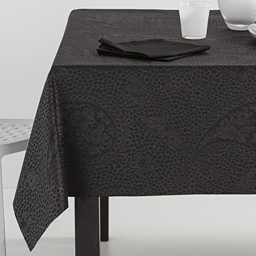 ES-TELA - Mantel jacquard KASHMIR color Negro - 140x300 cm. - Incluye...