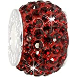 Carlo BIAGI Swarovski Bead 925 Silber Ring rot Armband Anhänger BBSCR01R