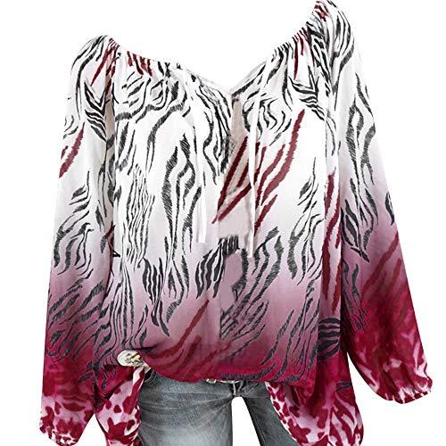 JURTEE Damen Herbst Oberteile, V-Ausschnitt Aus der Schulter Bandage Leopard Drucken Große Größen Einfach Tops Bluse T Shirt Räumungsverkauf XS-5XL