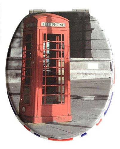 ADOB 32887 Holzkern WC Sitz Klobrille Motiv Telephone, Absenkautomatik