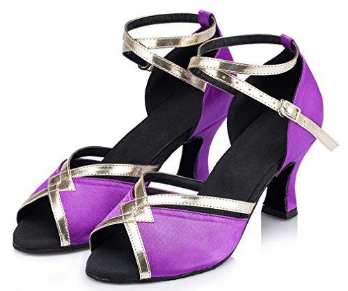 Honeystore Damen's starke Ferse Knöchelriemen Tanzschuhe Violett