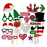 OULII Fotorequisiten Booth Weihnachten witzige lustige Bilder Kreative Foto Stütze für Party Feier Weihnachts Deko 28 Stück