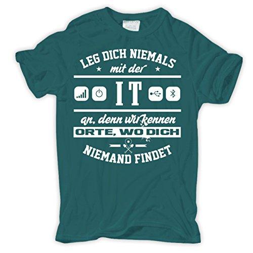 Männer und Herren T-Shirt Leg dich niemals mit der IT an Pazifikblau