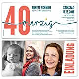 10 x Einladungskarten runder Geburtstag 40 Jahre Geburtstagseinladungen - Foto Zeitstrahl
