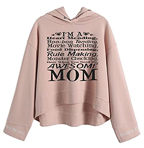 So'each Women's Awesome Mom Graphic Hoodie Sweatshirt Hooded Pullover