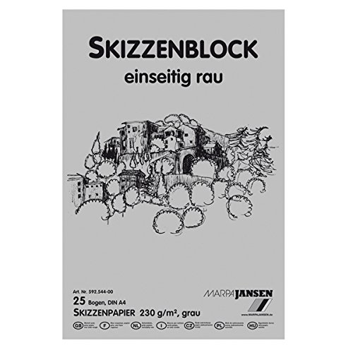 NEU Skizzenblock. 25 Blatt. DIN A4. grau