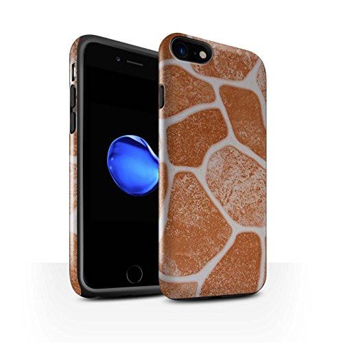 STUFF4 Glanz Harten Stoßfest Hülle / Case für Apple iPhone 8 / Steinboden/Orange Muster / Stein/Rock Kollektion Steinboden/Orange