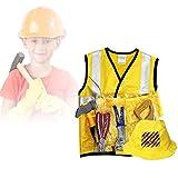 Juego de vestuario de trabajador de construcción, Engineering Dress Up Cosplay Juego de rol de juguete infantil con herramientas Halloween Regalo de Navidad para niños Niños pequeños de 3 a 7 años