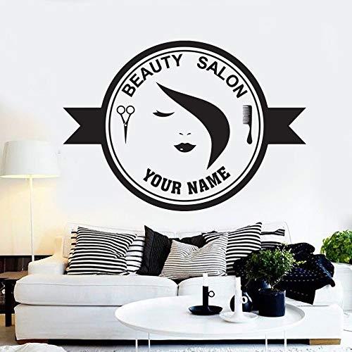 ziweipp Belleza peluquería peluquería Etiqueta de Peluquero Etiqueta de la Pared Pegatinas Marca extraíble salón de Vinilo Decoraciones de Arte calcomanías de Pared de Cristal 57 * 80 cm